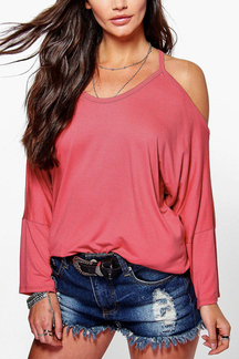 Red Causal Round Neck Cold Shoulder Long Sleeves Blouse