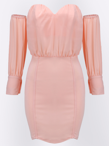 Pink Sweetheart Neckline Off-shoulder Body-conscious Sexy Dress