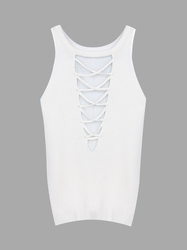 White Sleeveless Knitted Vest