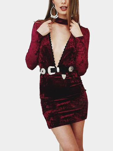Burgundy Sexy Deep V-neck Long Sleeves Velvet Dress