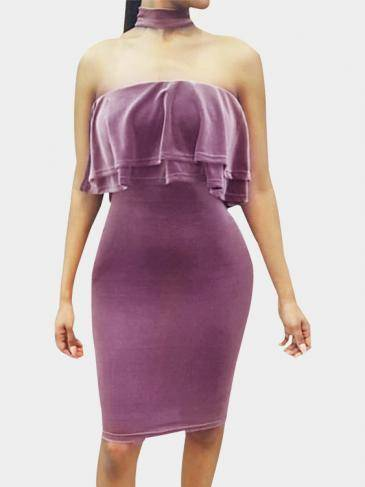 Purple Velvet Halter Design Flounced Tube Top Mini Dress