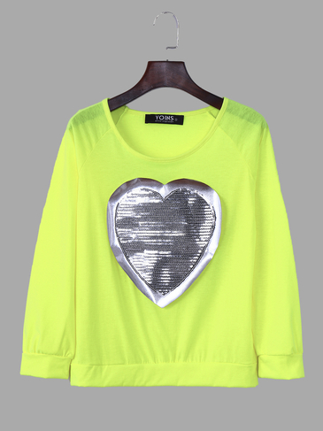 Fluorescent Green Heart-shape Sequin Long Sleeves T-shirt