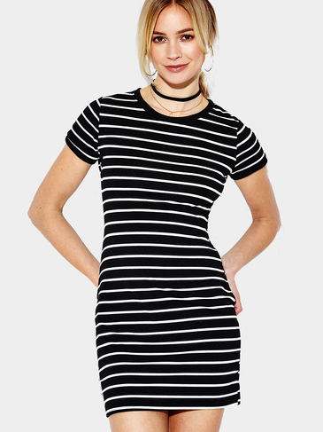 Fashion Stripe Pattern Round Neck Mini Dress