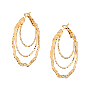 Gold Plated Layered C Letter Shape Earrings