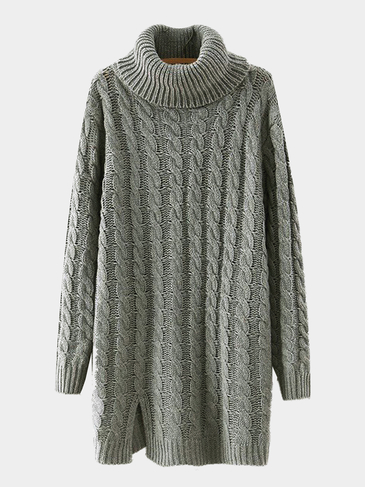 Cable Knit Long Sleeve Longline Sweater in Gray