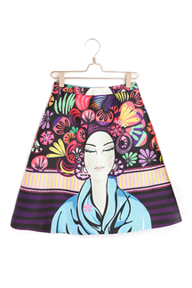 Vintage Printing A-line Skirt with High Waist