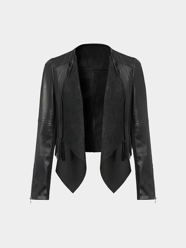 Cropped Leather Biker Jacket With Fringing