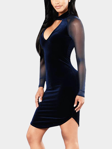 Dark Blue Velvet Hollow Front Raglan Meshed Sleeves Party Dress