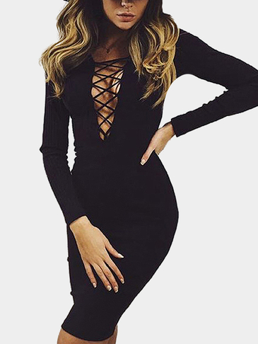 Black Lace-up Front Hollow Out Bodycon Party Dress