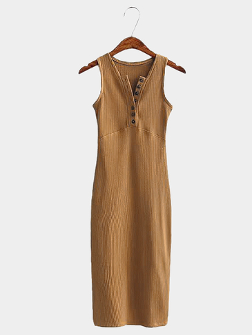 Ochre Single Breasted Design V Neck Sleeveless Midi Dress