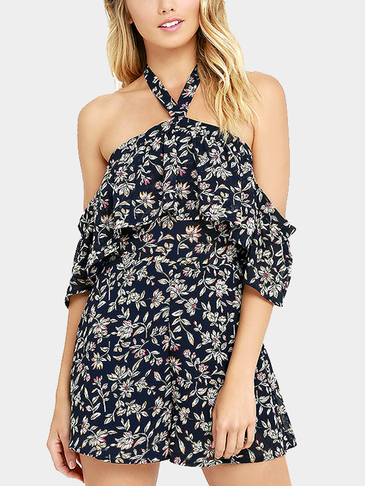 Random Floral Print Cold Shoulder Halter Design Playsuit