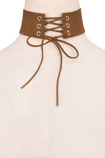 Brown Fashion Suede Roundness Lace-up Necklace