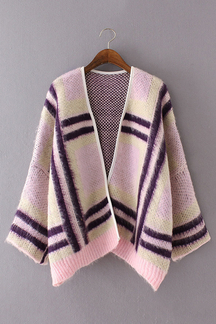 Casual Pink Open Front Grid Knit Cardigan
