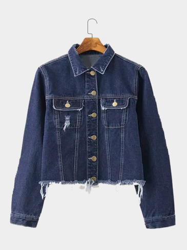 Rough Selvedge Button Closure Pocket Lapel Neck Coat