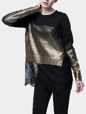 Black and Gold Stitching Knitted Sweater with Lace Hem