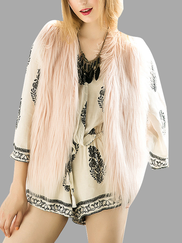 Incarnadine Pink Fashion Sleeveless Artificial Fur Open Front Coat