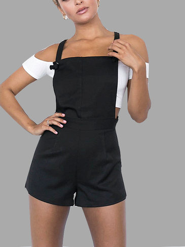 Casual Tie-Strap Playsuits in Black