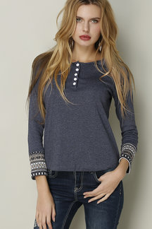 Grey Button Printed Round Neck Shirt