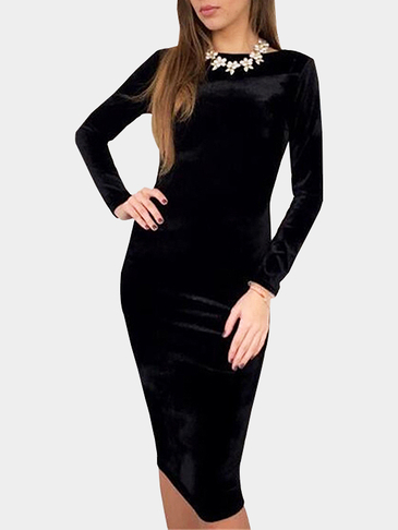 Casual Velvet Round Neck Backless Midi Dress in Black