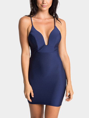 Navy Plunging Neck Open Back Cami Dress