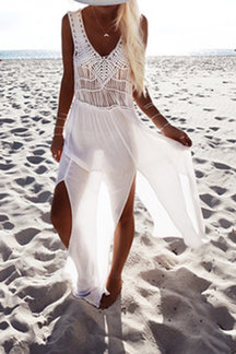 Plunge Woven Sleeveless Side Split Beach Dress
