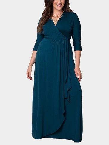 Plus Size Navy V-neck Tie Waist Maxi Wrap Dress