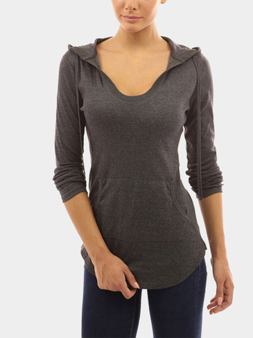 V-neck Hoodie with Front Pocket in Dark Grey