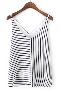 V Neck Sleeveless Stripe Pattern Vest