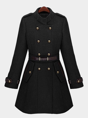 Black Double Breasted Belt Trench Coat