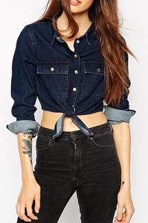 Fashion Denim Crop Shirt with Long Sleeves