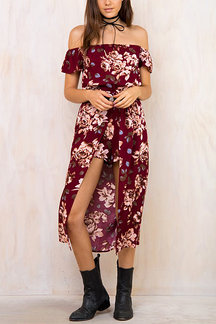 Vintage Floral Print Off Shoulder Playsuit with Maxi Overlay