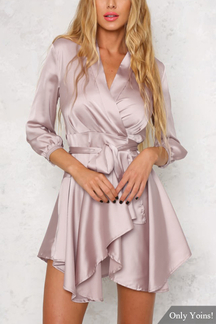 V-neck High Waist Mini Dress with 3/4 Length Sleeves