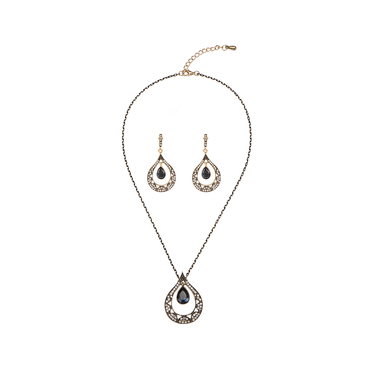Water-drop Diamond Necklace & Earrings Set