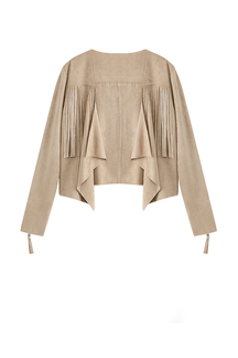 Draped Suede Tassels Edge Cape Poncho Jacket
