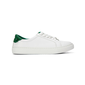 White Casual Leather Look Lace-up Sneakers with Green Back Part