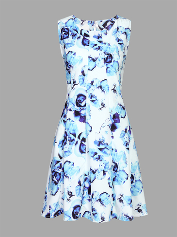 Pleats Design Random Floral Print Crew Neck Sleeveless Dress