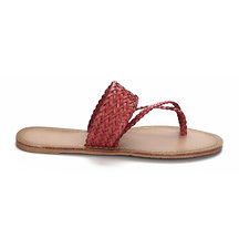 Red Woven Strap Toe Post Fashion Style Flat Slippers