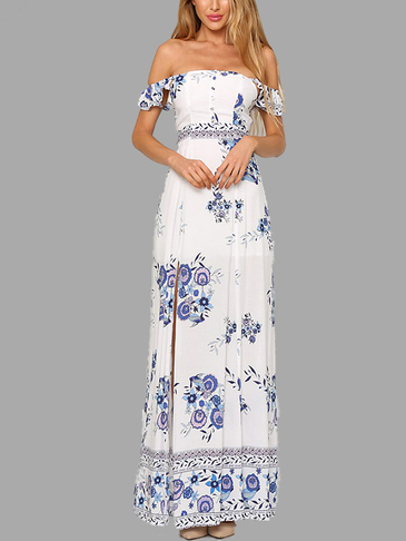 Random Floral Print Off Shoulder Open Back Splited Hem Maxi Dress