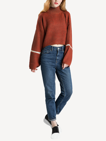Brown Knitted Jumper with Zipper Details