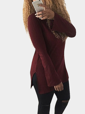 Burgundy High Neck Long Sleeve Side Split Plain T-shirts