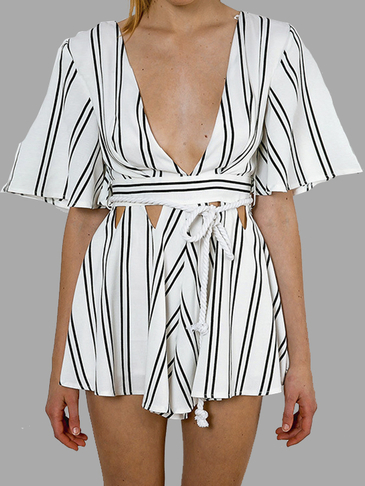 Stripe Pattern Cutout Playsuit with 1/2 Length Sleeves