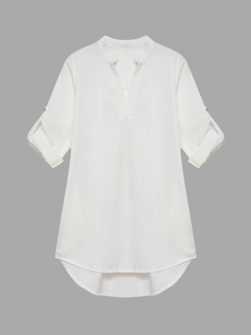 White V Neckline Shirt with Adjustable Sleeve