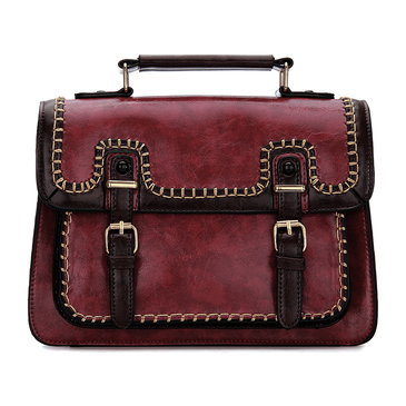 Burgundy Batchel Bag with Contrast Trims and Magnetic Closure