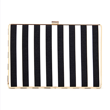 Black and White Striped Leather-look Box Clutch Bag with Chain Strap