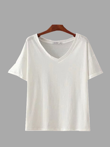 Plain White V Neck T-shirts