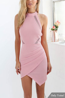 Pink Halter Open Back Dress with Mesh Insert