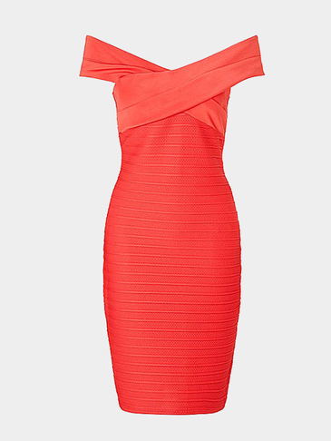 Red Cross Neck Ribbed Midi Dress