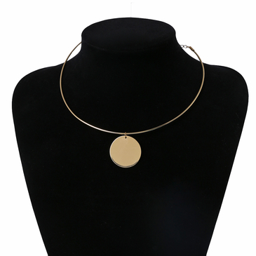 Gold-plated Metal Paillette Pendant Necklace