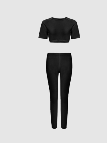 Black Simple Short Sleeves Cropped Top & Long Trousers Co-ord