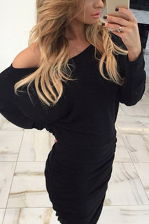 Black Sexy One Shoulder Long Sleeves Midi Dress